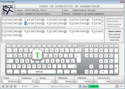Ventana de ejemplo de MecasoftPRO Student Plus en la que se muestra la cadena de caracteres a practicar y la simulación de un teclado en pantalla.